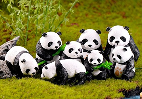 BoomTeck Miniature Garden Ornaments, 8 Pcs Cute Mini Animal Pandas Ornament DIY Kits for Fairy Garden Bonsai Dollhouse Succulent Decor Home Decoration