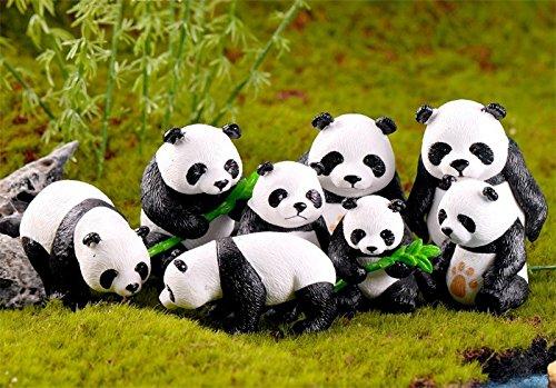 BoomTeck Miniature Garden Ornaments, 8 Pcs Cute Mini Animal Pandas Ornament DIY Kits for Fairy Garden Bonsai Dollhouse Succulent Decor Home Decoration -