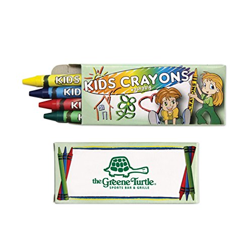 300 Personalized 4 Pack Washable Crayons Printed with Your Logo or Message by Ummah Promotions