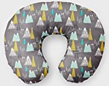 Nursing Pillow Cover in Mountains - Gray, Mustard, Mint - Handmade in the USA by Woodland Baby Co.