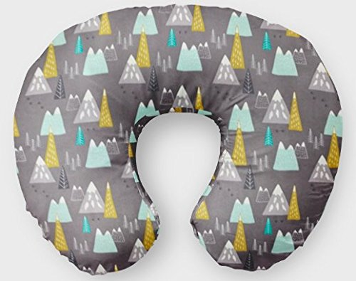 Nursing Pillow Cover in Mountains - Gray, Mustard, Mint - Handmade in the USA by Woodland Baby Co. woodlandbabyco. FHTBOP