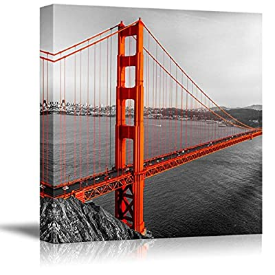 Black and White Photograph with Pop of Color on The Golden Gate Bridge - Canvas Art Home Art - 12x12 inches