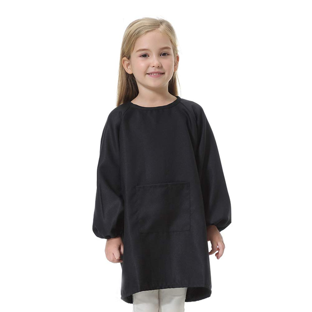 MOOUK Kids Painting Apron Art Smock Long Sleeve Painting Apron Toddler Waterproof Play Apron Childrens School Painting Apron Age 5-16years for Painting, Baking, Cooking, Smock (M(5-8Y),Black)