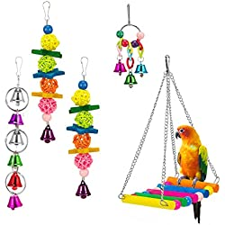MEWTOGO 5 Pack Bird Swing Toys for Bird Cage-Parrot Hammock Bell Toys for Finch,Budgie,Parakeets, Cockatiels, Conures and Love Birds