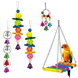 MEWTOGO Pack of 5 Bird Chewing Toy, Bird Hanging Bell Toy Pet Parrot Hammock Swing for Small Medium Birds