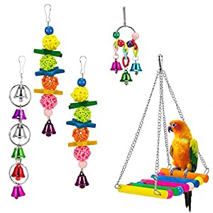 MEWTOGO 5 Pack Bird Swing Toys for Bird Cage-Parrot Hammock Bell Toys for Finch,Budgie,Parakeets, Cockatiels, Conures and Love Birds 120