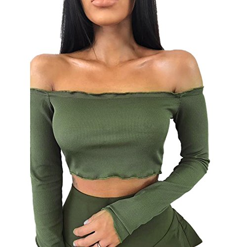 Femmes Sexy Longue Blouses XL Volants T Tops Bralet Pull Tops Green Chemisier Shirt paule Crop Wolfleague Femme Manche Army ~ S Boobtube Noir Court a8n1xwqx4