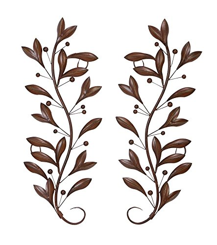 Deco 79 63048 Loft Nature Metal Leaf Wall Decor, 14 by 36-Inch, Antique Brown/Black, Sold in Pairs (Brown Metal Wall)
