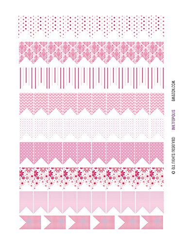 Monthly Planner Stickers Chunky Medium Flags in Pink Patterns Stickers Planner Labels Compatible with Erin Condren Vertical Life Planner