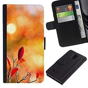LASTONE PHONE CASE / Lujo Billetera de Cuero Caso del tirón Titular de la tarjeta Flip Carcasa Funda para Samsung Galaxy Note 4 SM-N910 / Nature Autumn Leaves