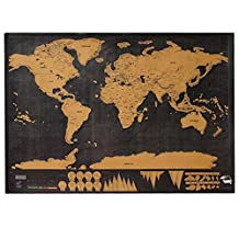 Scratch World Map, Scratch Map Travel Map Scratch Wall Decor World Map Education Crafts Social Studies Materials Office Supplies Black with Golden Coating World Interactive Travel Poster Prints Large 32.28 x 23.62 Inches Bright Colors Deluxe Edition, Travel Gifts ,Birthday's Gifts ,Holiday's Gift by Newpurslane