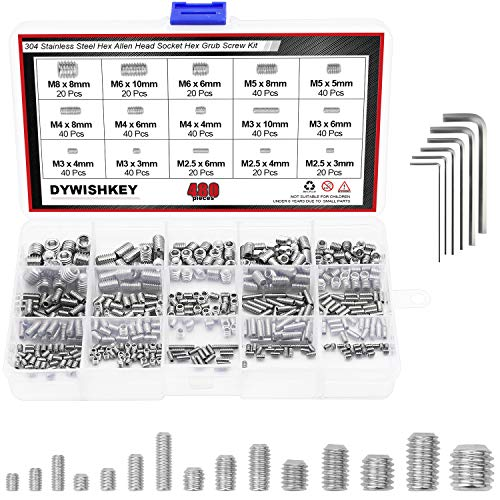 DYWISHKEY Allen Head Socket Hex Grub Screw, Set Screw Assortment Kit with 6 Hex Wrenches, Internal Hex Drive Cup-Point, 480PCS (M2.5/M3/M4/M5/M6/M8) (Silver) ()
