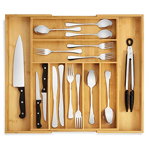 RMR Home Bamboo Silverware Drawer Organizer - Expandable Kitchen Drawer Organizer and Utensil Organizer, Perfect Size Cutlery Tray with Drawer Dividers for Kitchen Utensils and Flatware (7-9 Slots)