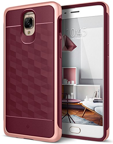 Caseology for OnePlus 3T case/OnePlus 3 case [Parallax Series] Slim Protective Secure Grip with Textured Geometric Design Case for OnePlus 3T / OnePlus 3 - Burgundy