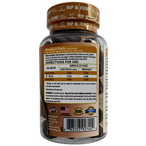 Image of Primo Pup Vet Health Hip & Joint Supplement | With Glucosamine, Chondroitin & MSM | Enhances Joint Health for Dogs | Supports Cartilage & Connective Tissue | Veterinarian Developed | 60 Soft Chews