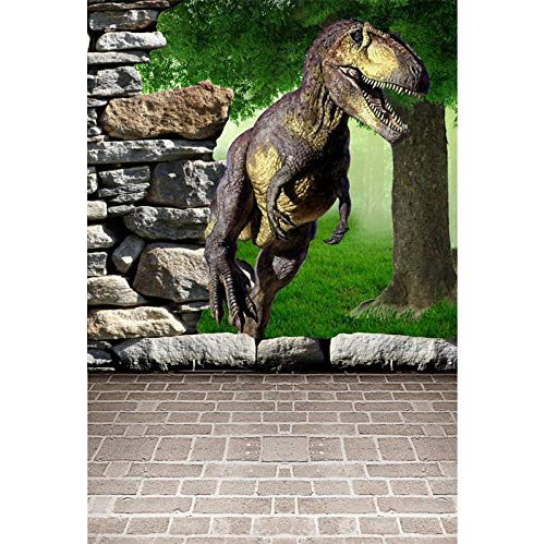 Dinosaur Scene - Laeacco 3x5ft Dinosaur Photography Backdrop The 3D Cartoon Dinosaur and Wall Scene 1X1.5m Photo Background Effective Realistic Stone Wall Brick Floor Forest Trees Scebuc for Studio Props