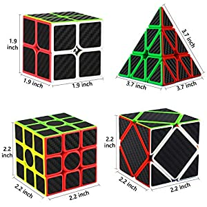 Libay Speed Cube Bundle [5 Pack] Magic Cube Set 2x2 3x3 Megaminx Pyramid Skew Cube Carbon Fiber Sticker Cube Puzzle Toys for Kids and Adults