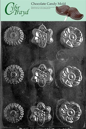 Asst Hard Candy Mold (Cybrtrayd Life of the Party F095 Daisy Aster Orchid Flower Soap Chocolate Candy Mold in Sealed Protective Poly Bag Imprinted with Copyrighted Cybrtrayd Molding Instructions)