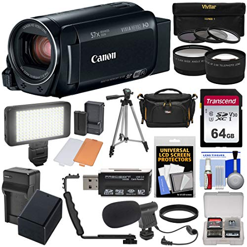 - Canon Vixia HF R82 32GB Wi-Fi 1080p HD Video Camera Camcorder + 64GB Card + Battery & Charger + Case + Tripod + 3 Filters + LED + Mic + 2 Lens Kit
