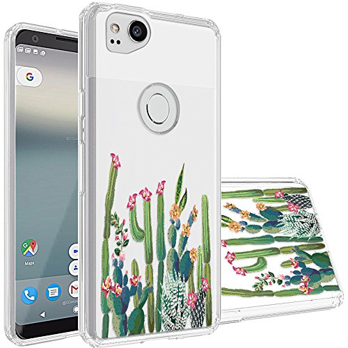 Google Pixel 2 Case,Topnow [Anti-Scratch PC + Shockproof Anti-Drop Soft TPU] Advanced Printing Pattern Phone Cases Glossy Drawing Design Cover for Google Pixel 2(Cactus Plexus)