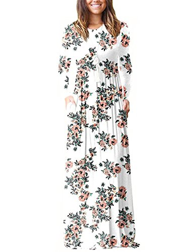 BALEMS Women Casual Long Sleeve Long Maxi Tunic Dress - Maternity Tunic Dress