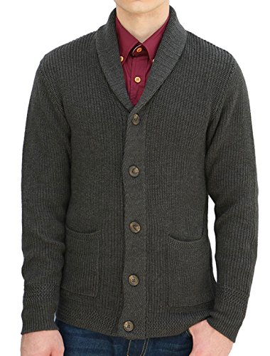 uxcell Men Shawl Collar Single Breasted Front Pockets Long Sleeves Cardigan XLarge Dark Gray