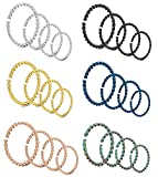 LOYALLOOK 24PCS 20G Stainless Steel Nose Ring Clip on Fake Nose Lip Helix Hoop Septum Piercing Braided Cartilage 6-12mm …