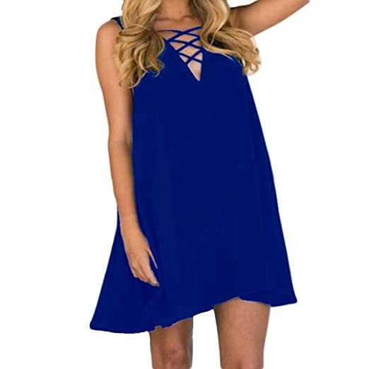 Women Dress Plus Size,Clearance! AgrinTol Women Summer Sleeveless Loose V-Neck Cross