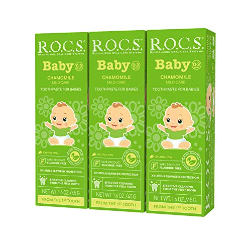R.O.C.S. Baby Chamomile Toothpaste – Soft Protective Formula for Teeth and Gums – For Babies and Toddlers 0-3 Years Old – Helps Soothe Discomfort, Safe to Swallow – Natural, No Fluoride or Sulfate