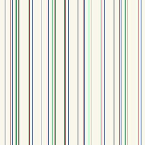 York Wallcoverings KS2453 Cool Kids Wide Multi Stripe Wallpaper, Ecru/Grey/Green/Blue/Red by York Wallcoverings