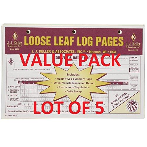 LOT OF 5 JJ KELLER 13-MP LOOSE LEAF DELUXE DUPLICATE DAILY LOG (613-MP) Drivers Daily Log Carbonless Duplicate