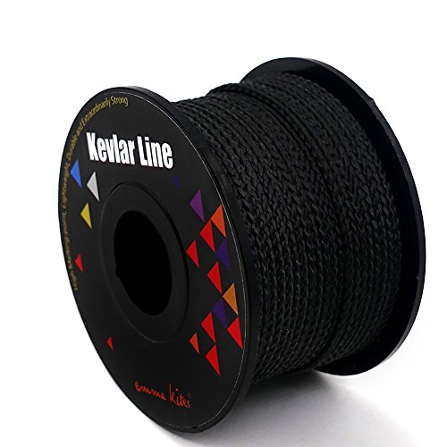emma kites 100% Braided Kevlar String Black 100ft 100lbs High Tensile for Outdoor Activities, Tactical, Survival and Other General Purpose
