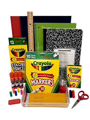 Back To School Supply Box Grades K-5 - School Supply Kit Back To School Essentials - 32 Pieces - Includes Markers, Crayons, Pencils, Scissors, Folders, Glue Sticks, Notebook, and Composition Notebook -