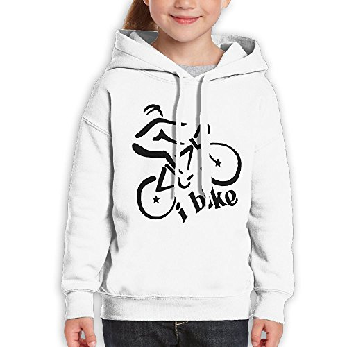 Price comparison product image Anraglan Bike Girls Long Sleeve Pullover Hooded Sweatshirt White Size M