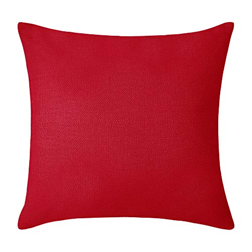 Deconovo Red Toss Pillow Case Throw Cushion Cover Faux Linen Look for Car, 18x18-inch, Red