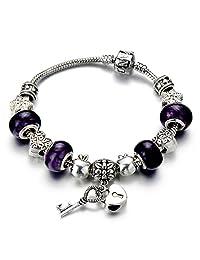 Purple Murano Glass Heart Lock Beads Charms Beaded Bracelets ¡