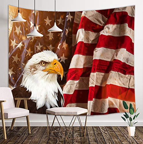 DYNH United States Flag Tapestry, North American Bald Eagle with American Flag Patriotic Concept, Wall Hanging Tapestries for Bedroom Living Room Dorm TV Backdrop Beach Blanket 3D Print 80X60 - Tapestry Flag