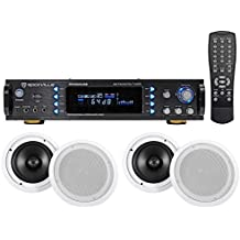 "Rockville RPA6000USB 1000 Watt Home Theater Receiver+(4) 8"" In-Ceiling Speakers"