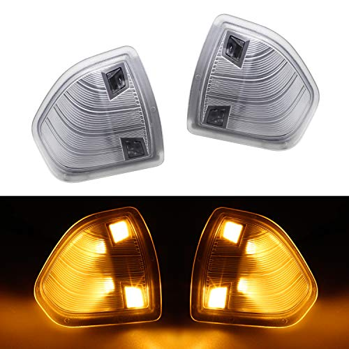HERCOO LED Side Mirror Turn Signal Light Left and Right Lamps Clear Cover Lens for 68302828AA 68302829AA Compatible with 2010-2018 Dodge Ram 1500 2500 3500 4500 5500, Pack of 2 ()