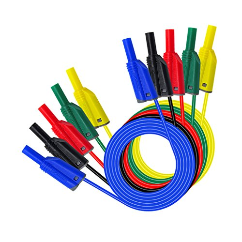 (D DOLITY Pack of 5Pcs 4mm Stackable Banana Plug Wire Silicone Test Cable Lead for Multimeter)