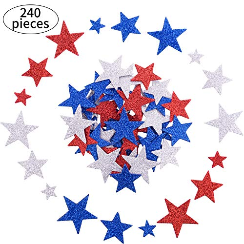 meekoo 240 Pieces July 4th Foam Stickers Patriotic Stickers Self Adhesive Glitter Star Stickers Decal for Independence Day Crafts ()