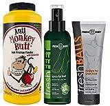monkey FRESH FEET, FRESH BALLS & Anti Monkey Butt 6 oz! Fresh Feet Odor Fighting Spray w/Essential Oils, Fresh Balls Men's Antiperspirant and Monkey Butt Anti Chaffing Powder!