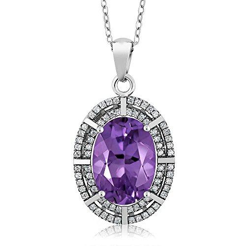 (925 Sterling Silver Purple Amethyst Oval Ladies Pendant Necklace, 6.54 Ctw, Gemstone Birthstone with 18