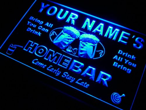 p-tm-b Name Personalized Custom Home Bar Beer Neon Light Sign Blue 16'' x 12'' by AdvPro Custom (Image #1)