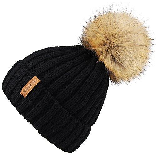 Kids Winter Knitted Pom Beanie Bobble Hat Faux Fur Ball Pom Pom Cap Unisex Kids Beanie Hat,Black,One Size ()