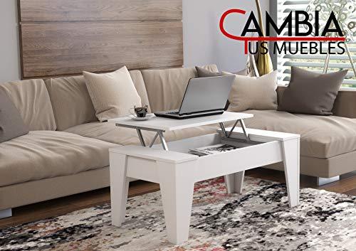 CAMBIA TUS MUEBLES - Mesa de Centro elevable para Comedor, salon ALINSA, Blanco, Mesa Auxiliar, Mayor Grosor