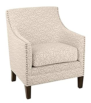 Ravenna Home Kaiden Patterned Nailhead Accent Chair, 33 W, Leaf