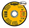 Dewalt DWA8051 Type 1 Small Diameter Cut-Off Wheel, 4-1/2 In Dia X 0.045 In 25 Pack