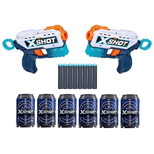 XShot Excel Double Kickback Foam Dart Blaster Combo Pack (8 Darts 6 Cans)