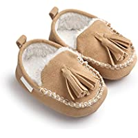 JILIGUALA Newborn Infant Baby Girls Boys Faux Fur Moccasin Slippers Tassels Soft Sole Loafer Toddler Shoes